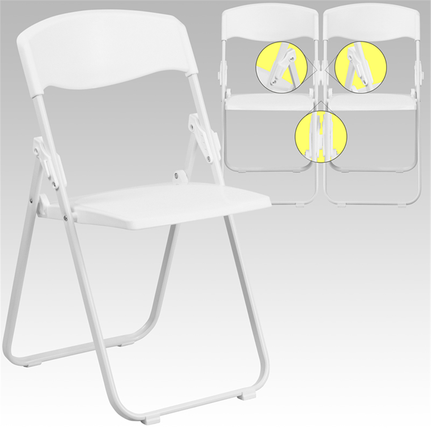Flash HERCULES Series 880 lb Capacity Heavy Duty White Plastic Folding Chair