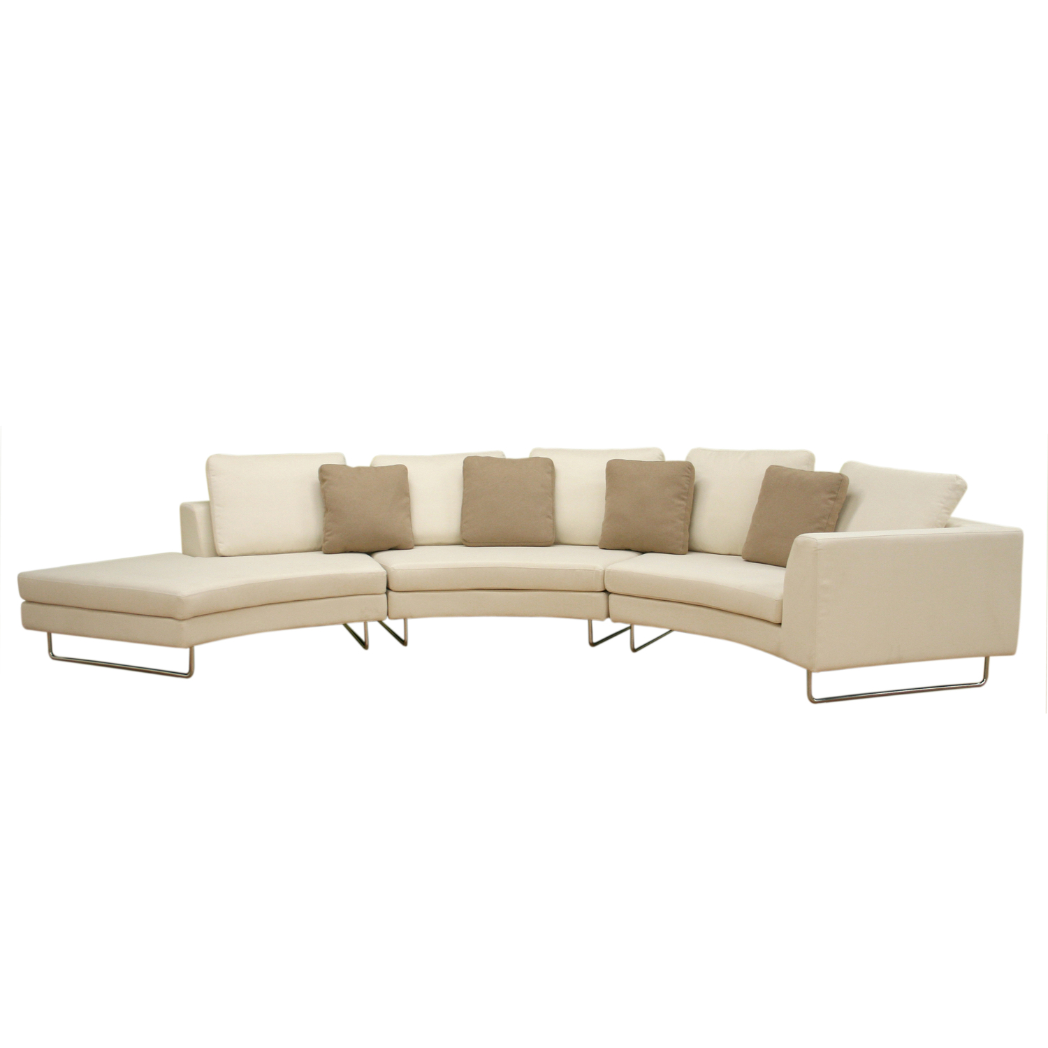 baxton studio lilia curved 3 piece tan fabric modern sectional sofa