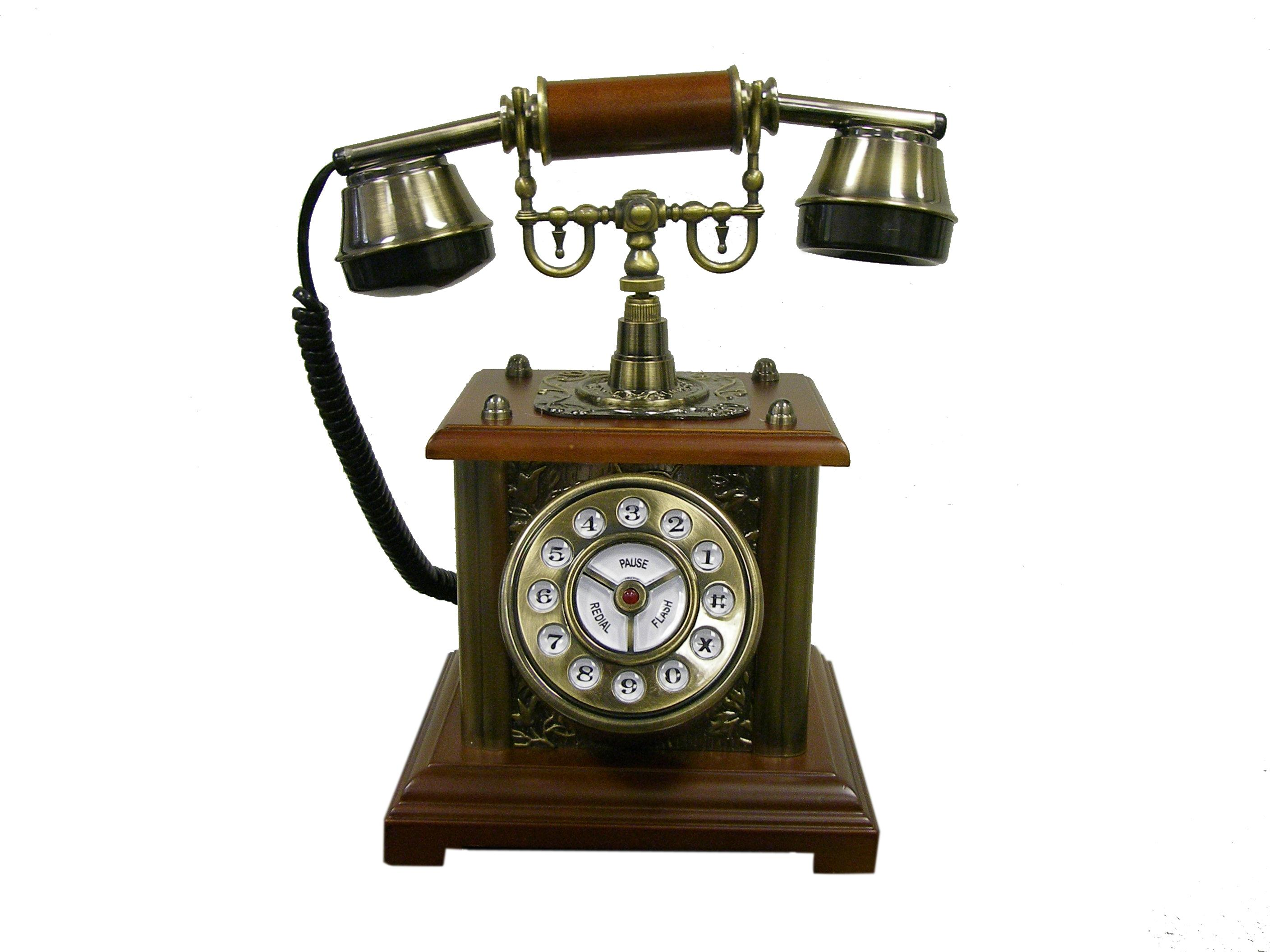 ore international antique hardwood telephone by oj commerce t04013. Black Bedroom Furniture Sets. Home Design Ideas