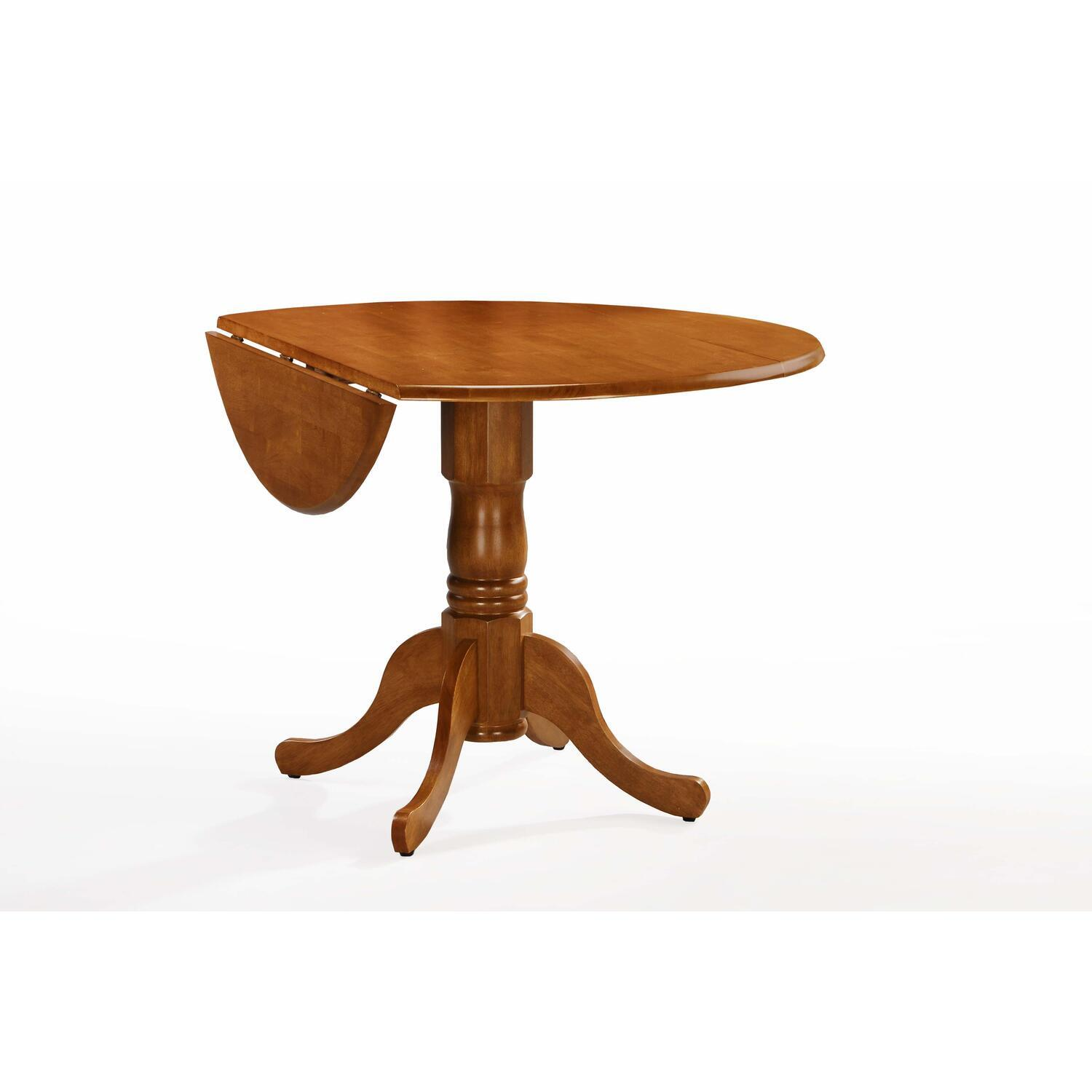 Whitewood 42 round dual drop leaf ped table by oj for Solid wood round dining table with leaf
