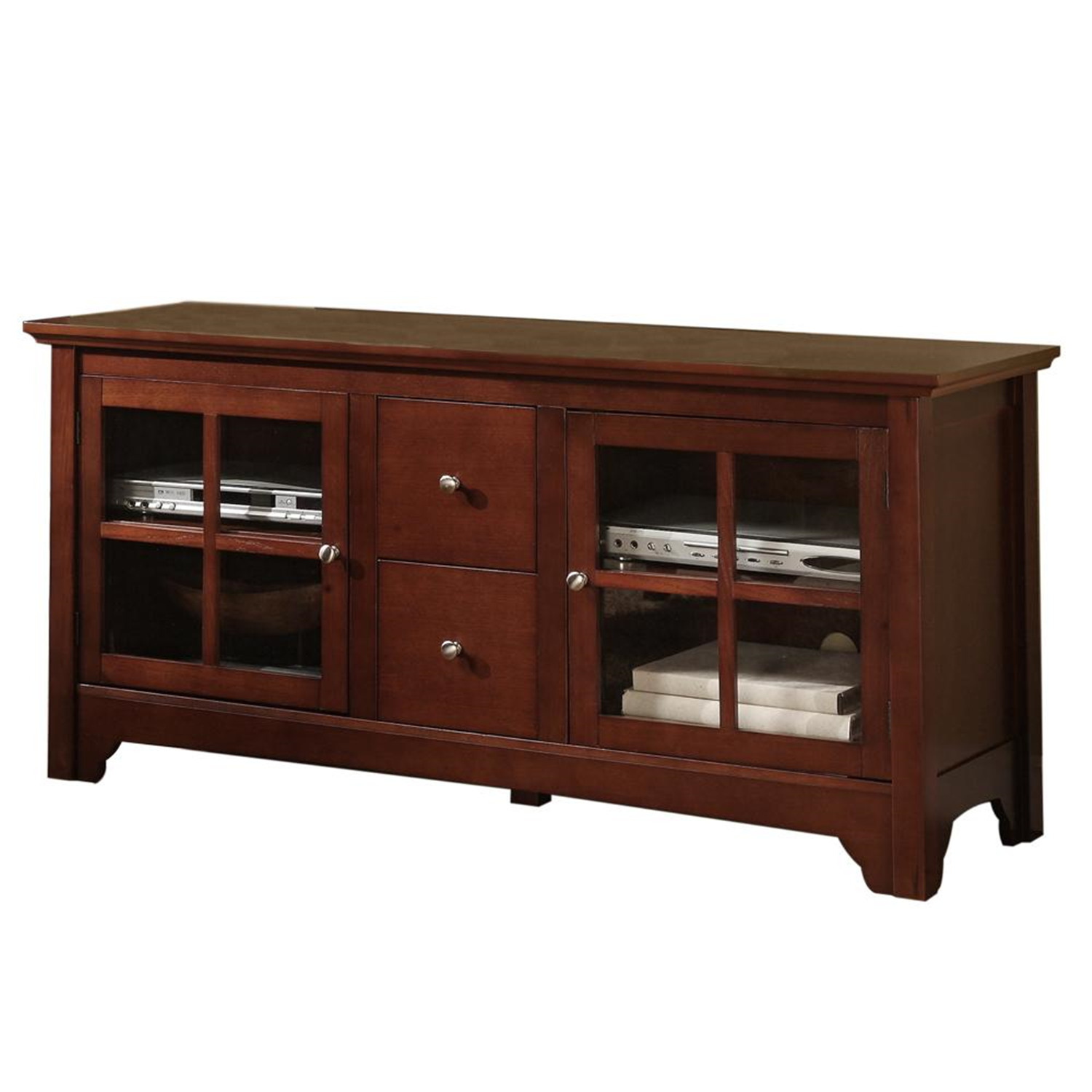 walker edison 52 in solid wood tv console with drawers by