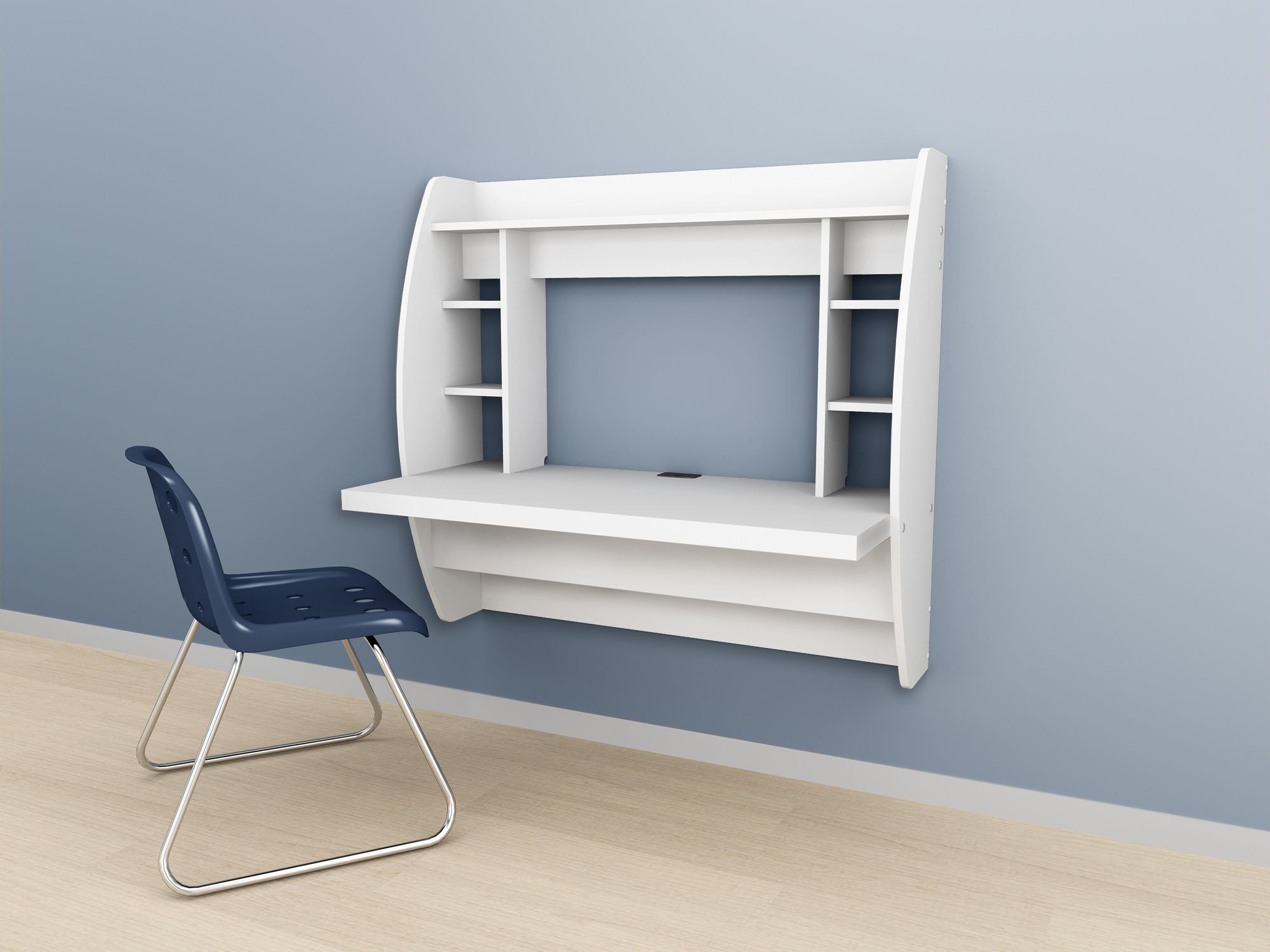 Wall Mounted Prepac Floating Storage Desk – White Black