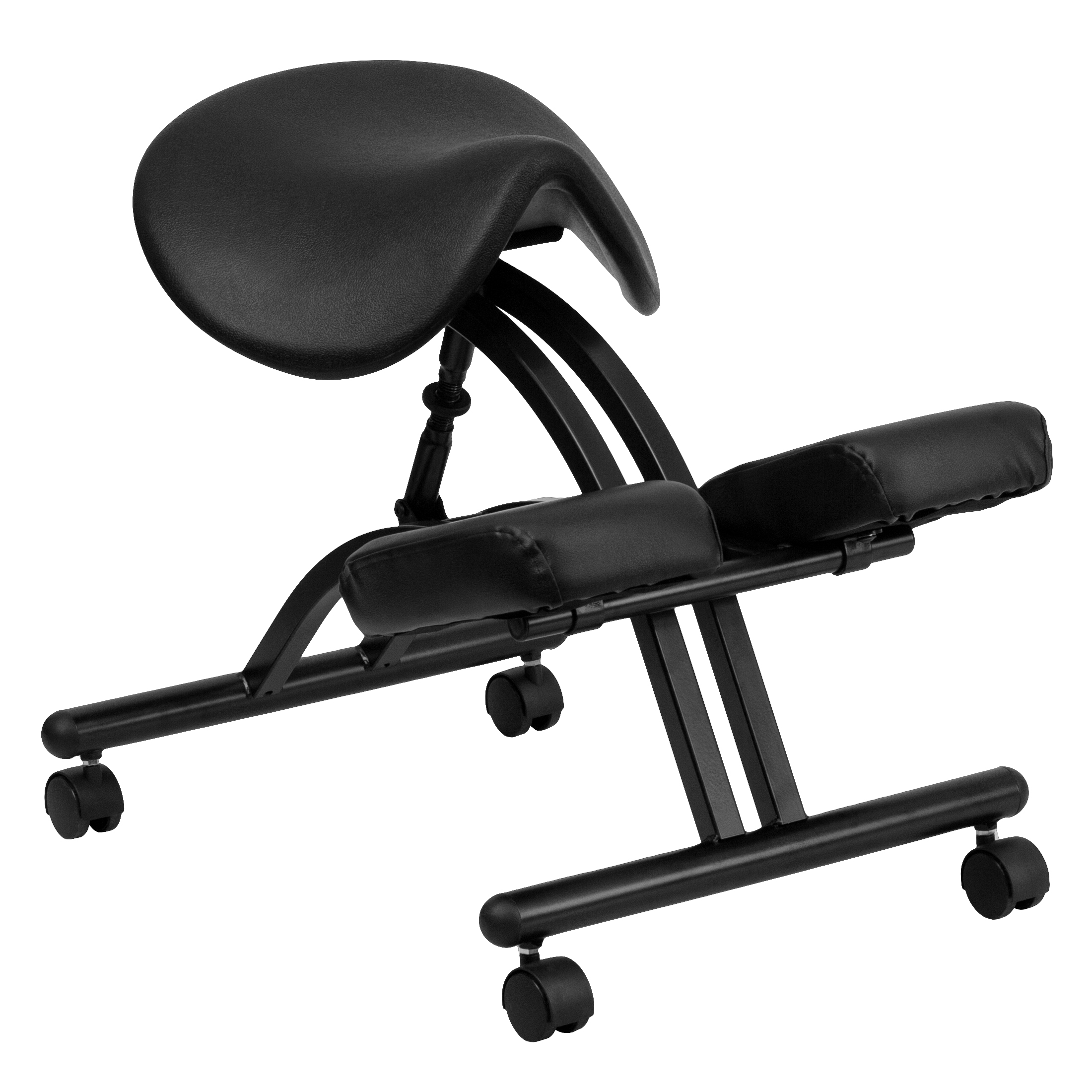 Flash Ergonomic Kneeling Chair With Black Saddle Seat By