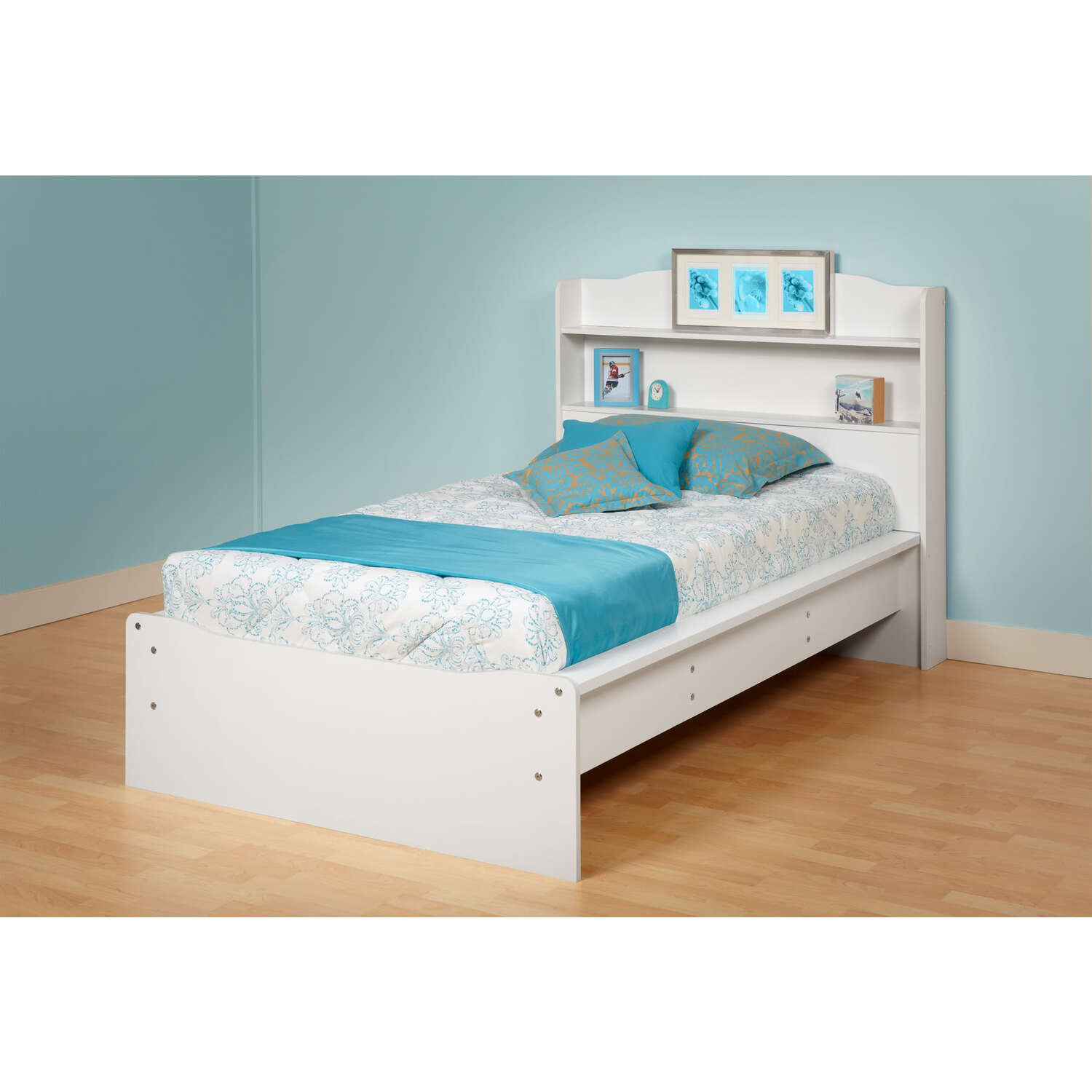 Prepac aspen twin platform bed bookcase headboard by oj for Bookshelf bed headboard