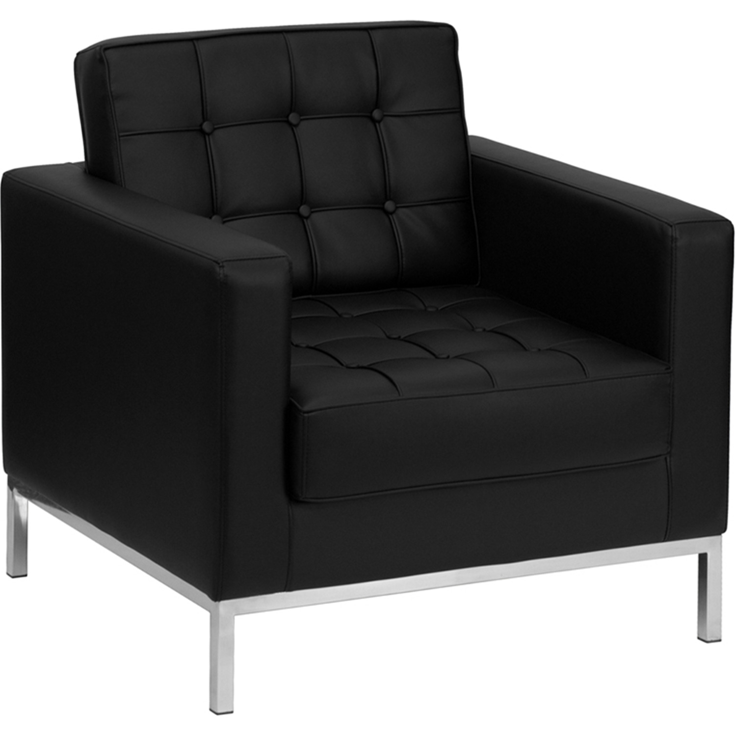 hercules lacey series contemporary black leather chair with stainless