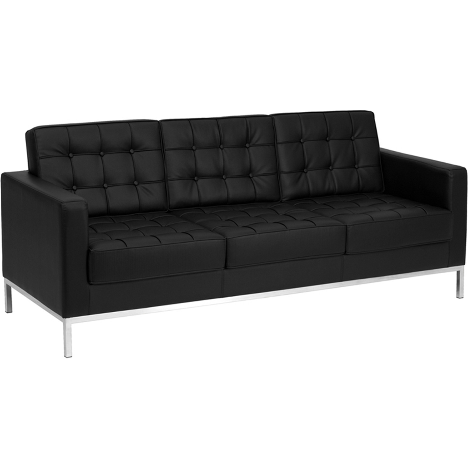 Flash furniture hercules lacey series contemporary black leather sofa with stainless steel frame Contemporary leather sofa