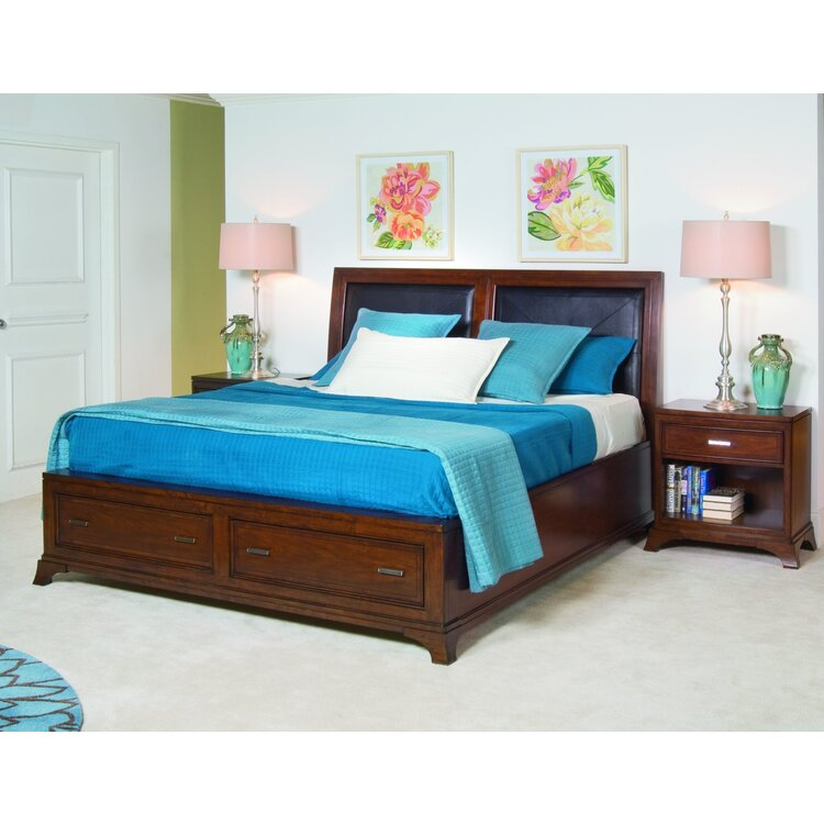 Leather Accent BedwithStorage Footboard King