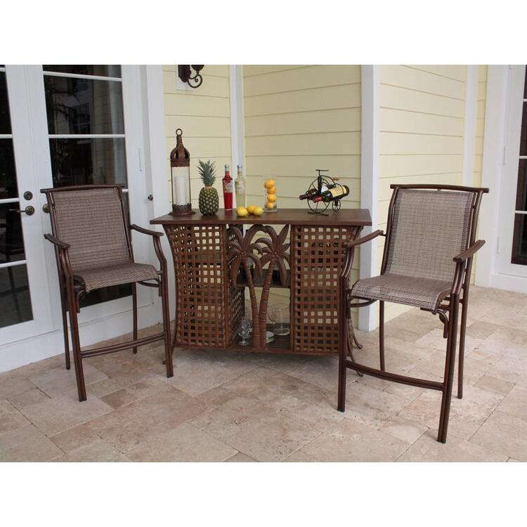 Chub Cay Patio 3 Piece Bar and Stackable Barstool Set