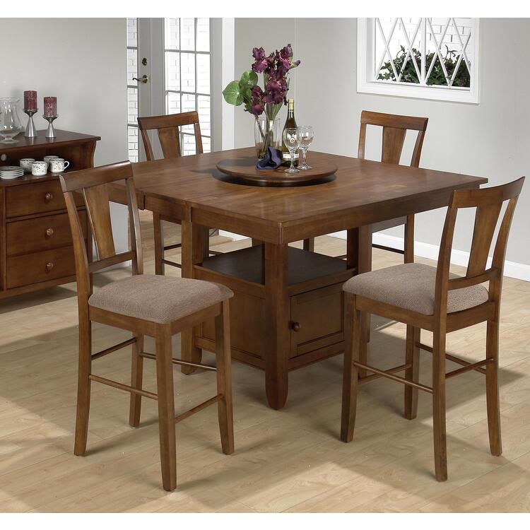 Jofran Saddle Brown Oak Finished Square Counter Height 5