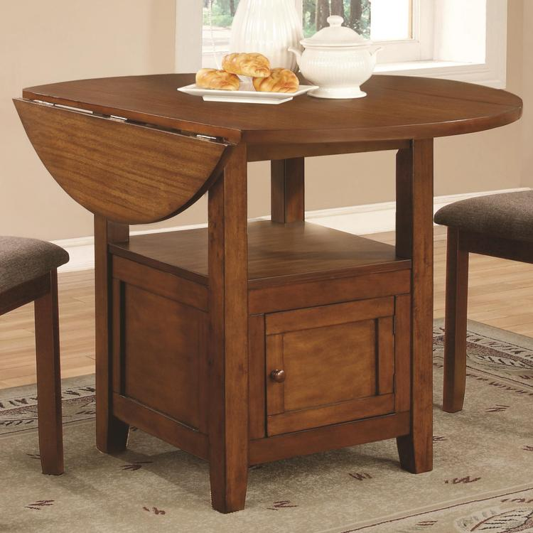 hollywood home stockton round drop leaf dining table with storage by