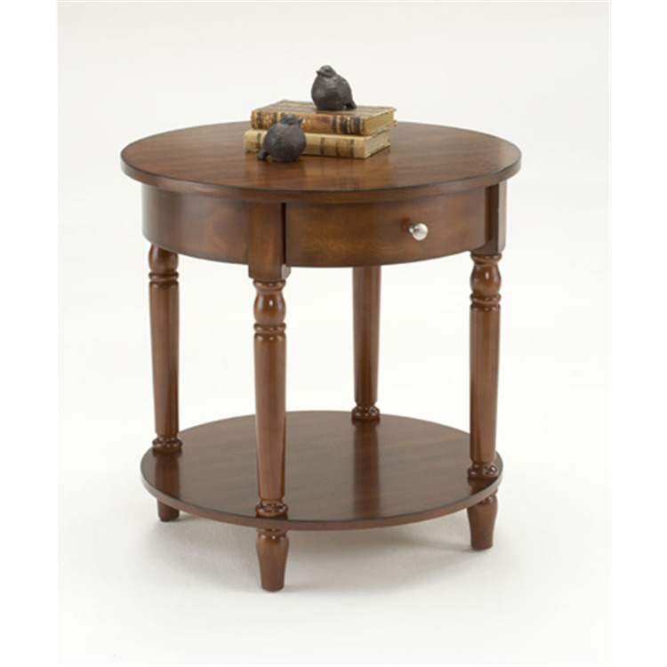 Bernards cherry round accent table with drawer by oj commerce7019a