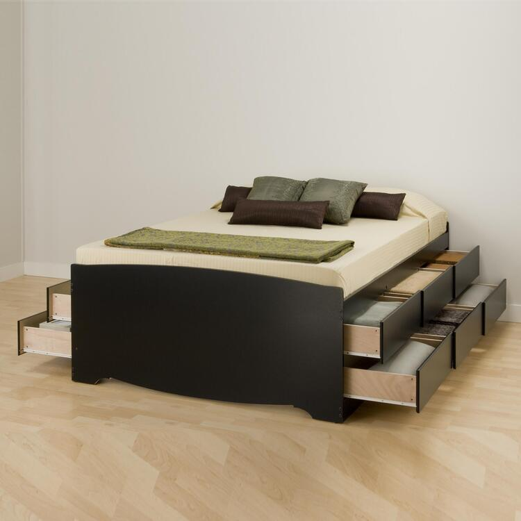 Queen 12 drawer Tall Platform Storage Bed