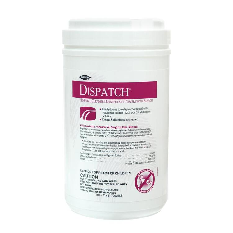 Dispatch Disinfectant Wipes W/ Bleach Towel Canister