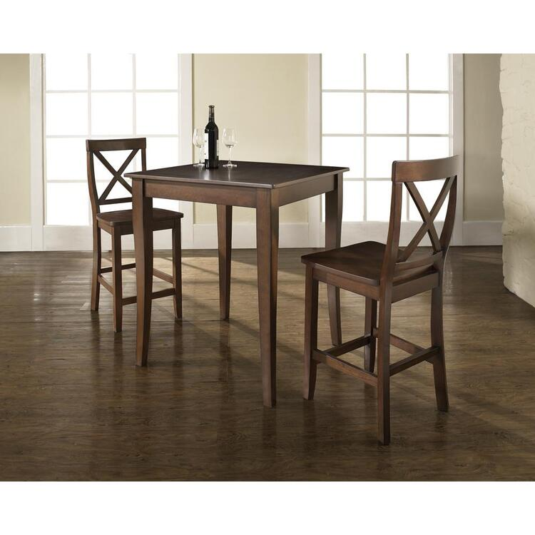 3 Piece Pub Dining Set with Cabriole Leg and X-Back Stools