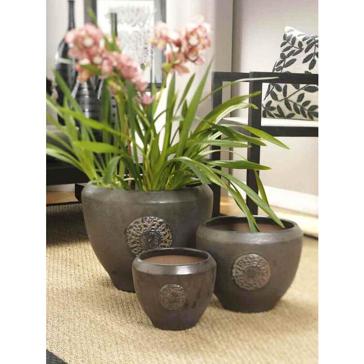 Medallion Ceramic Planters