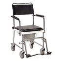 Portable Upholstered Wheeled Drop Arm Bedside Commode