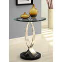 Brushed Chrome, Black Poly and Glass Round Chairside Table