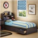 Twin Bookcase Storage Bed Set in Chocolate Finish