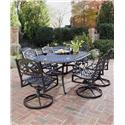 Biscayne 7 Piece Dining Set With Table And Six Swivel Arm Chairs