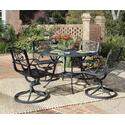 Malibu 5 Piece Dining Set With Outdoor Dining Table And Four Swivel Arm Chairs