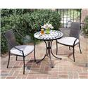 3 Piece Bistro Set With Fishtail Tile Bistro Table And 2 Laguna Slope Arm Chairs