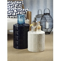 Barclay Butera Seaside Collection Embossed Square Design Earthenware Stool
