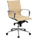 Mid-Back Ribbed Upholstered Leather Conference Chair