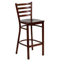 HERCULES Series Mahogany Ladder Back Metal Restaurant Bar Stool