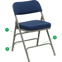HERCULES Series Premium Curved Triple Braced & Quad Hinged Fabric Upholstered Metal Folding Chair