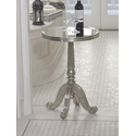 Cabriole Metal and Wood Mirrored Top Table