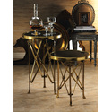 Polished Stone Top Brass Accent Table