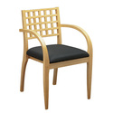 Wood Visitors Chair with Criss-Cross Back and Upholstered Seat
