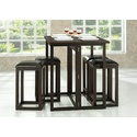 Leeds 3 Piece Dining Set in Dark Brown