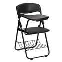 Black Plastic Chair with Right Handed Tablet Arm and Book Basket