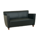 Leather Love Seat with Cherry Finish