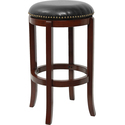 Backless Stool with Black Leather Swivel Seat