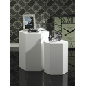 Set of two White Lacquer Hexagon Shape Accent Tables