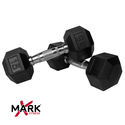 XMark Pair of 15 lb. Rubber Hex Dumbbells XM-3301-15-P