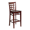 HERCULES Series Mahogany Finished Window Back Wooden Restaurant Bar Stool