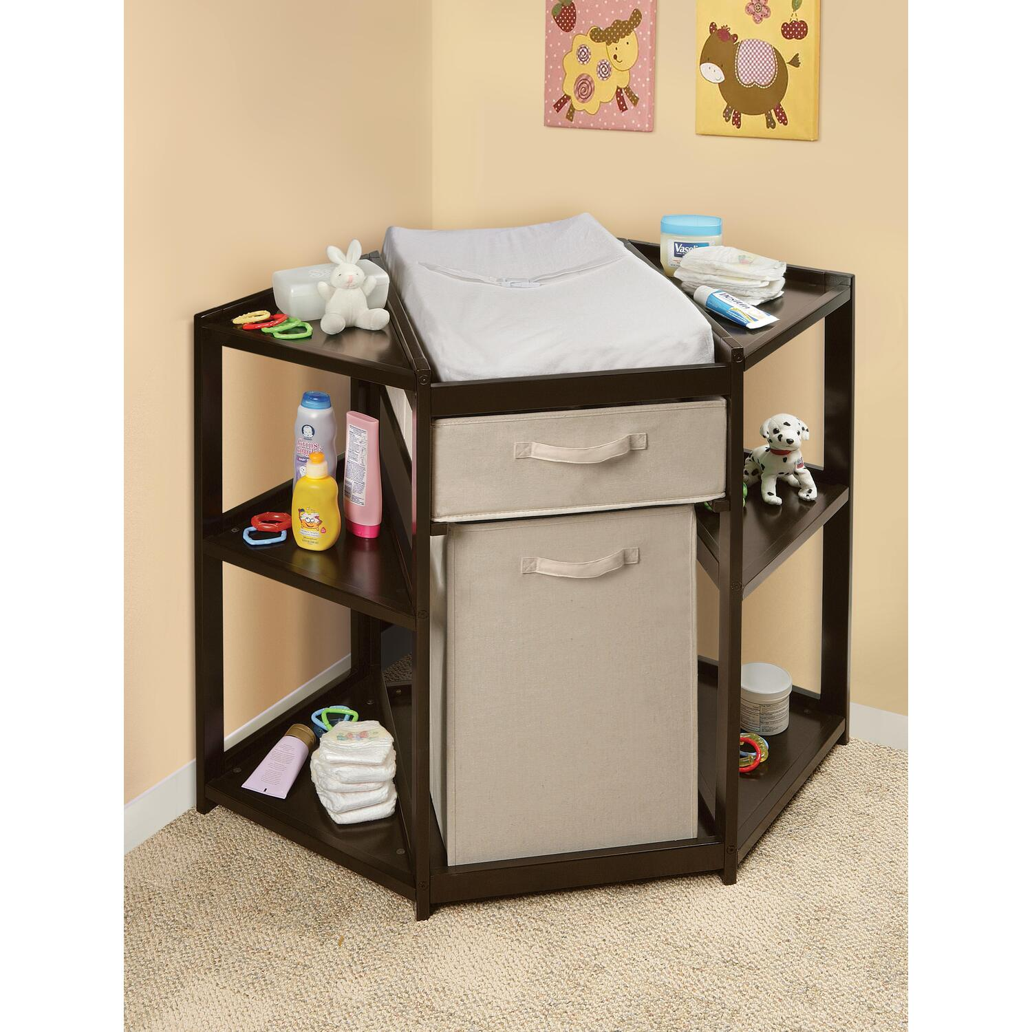 badger basket espresso diaper corner changing table with hamper  - roll over image to zoom