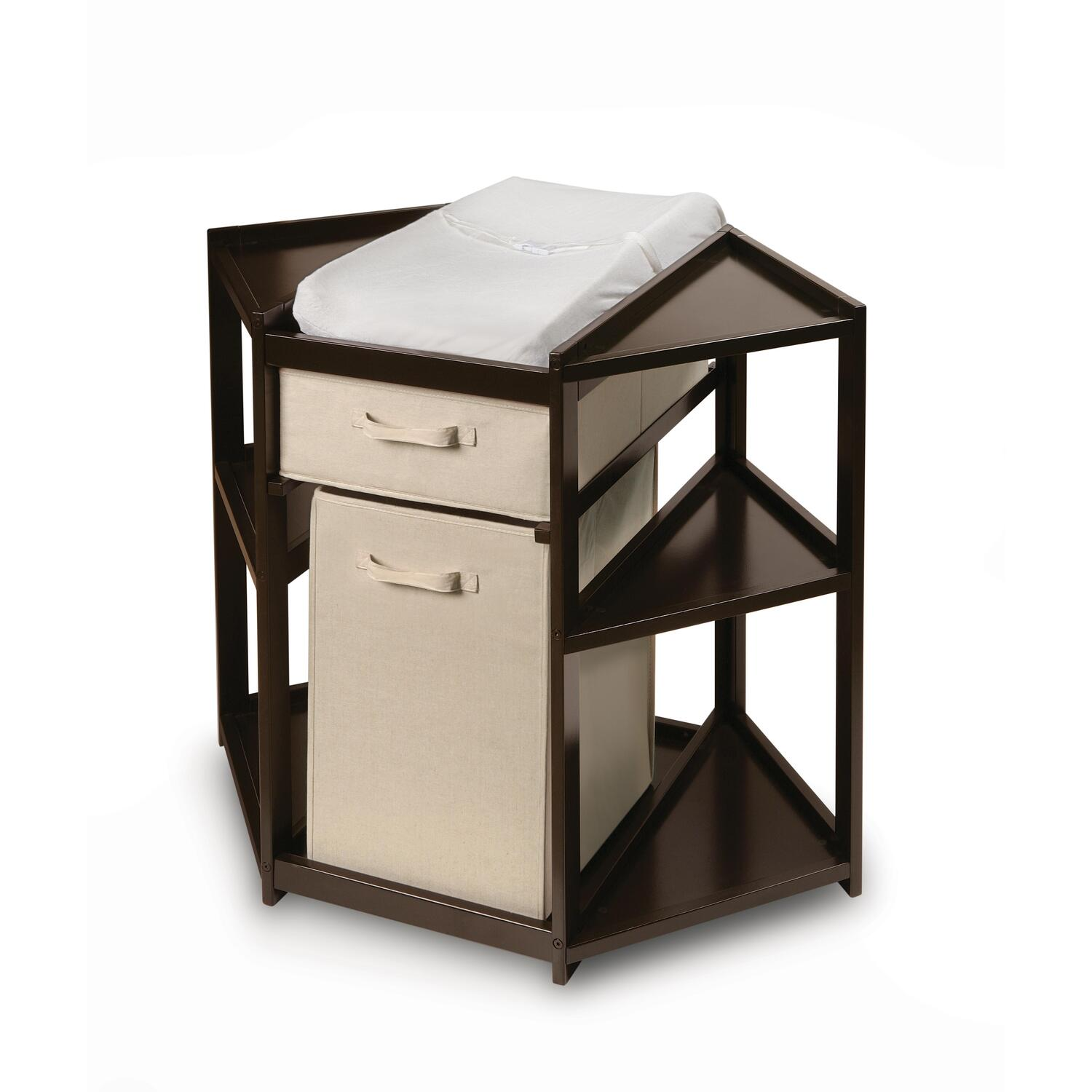 Wonderful Espresso Diaper Corner Changing Table With Hamper And Basket | OJCommerce