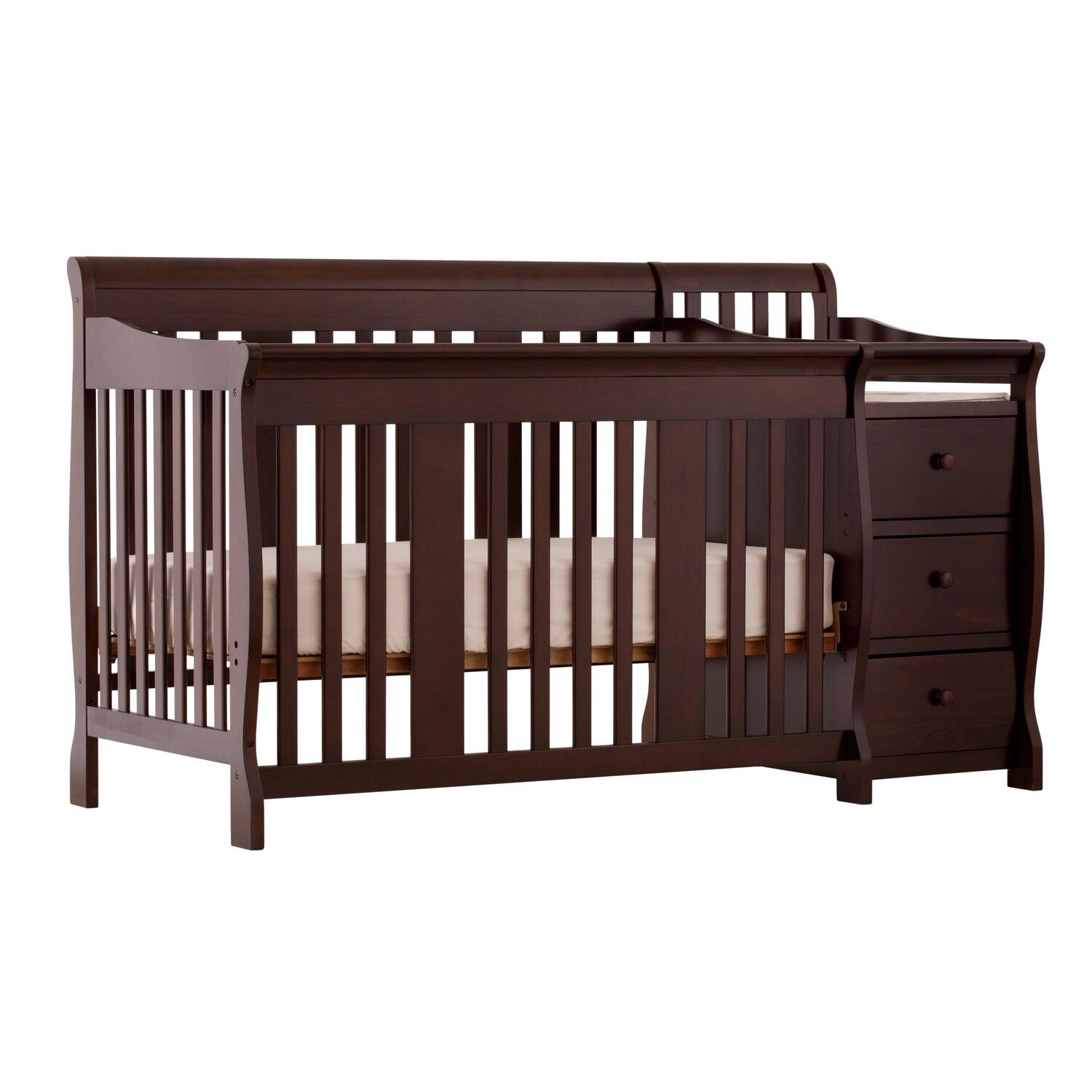 stork craft portofino 4 in 1 fixed side convertible crib changer espresso