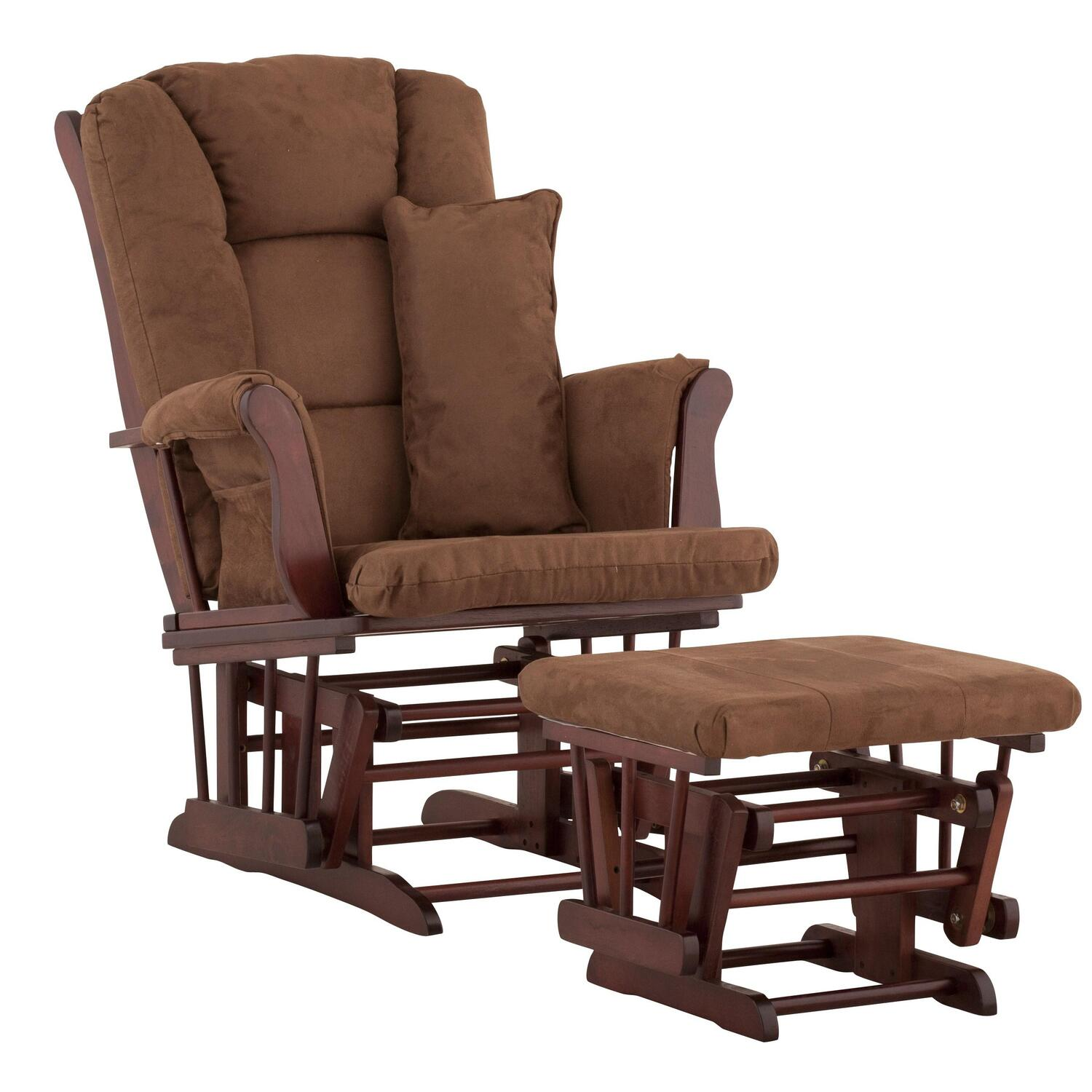 stork craft custom tuscany glider and ottoman with free matching lumbar support pillow. Black Bedroom Furniture Sets. Home Design Ideas