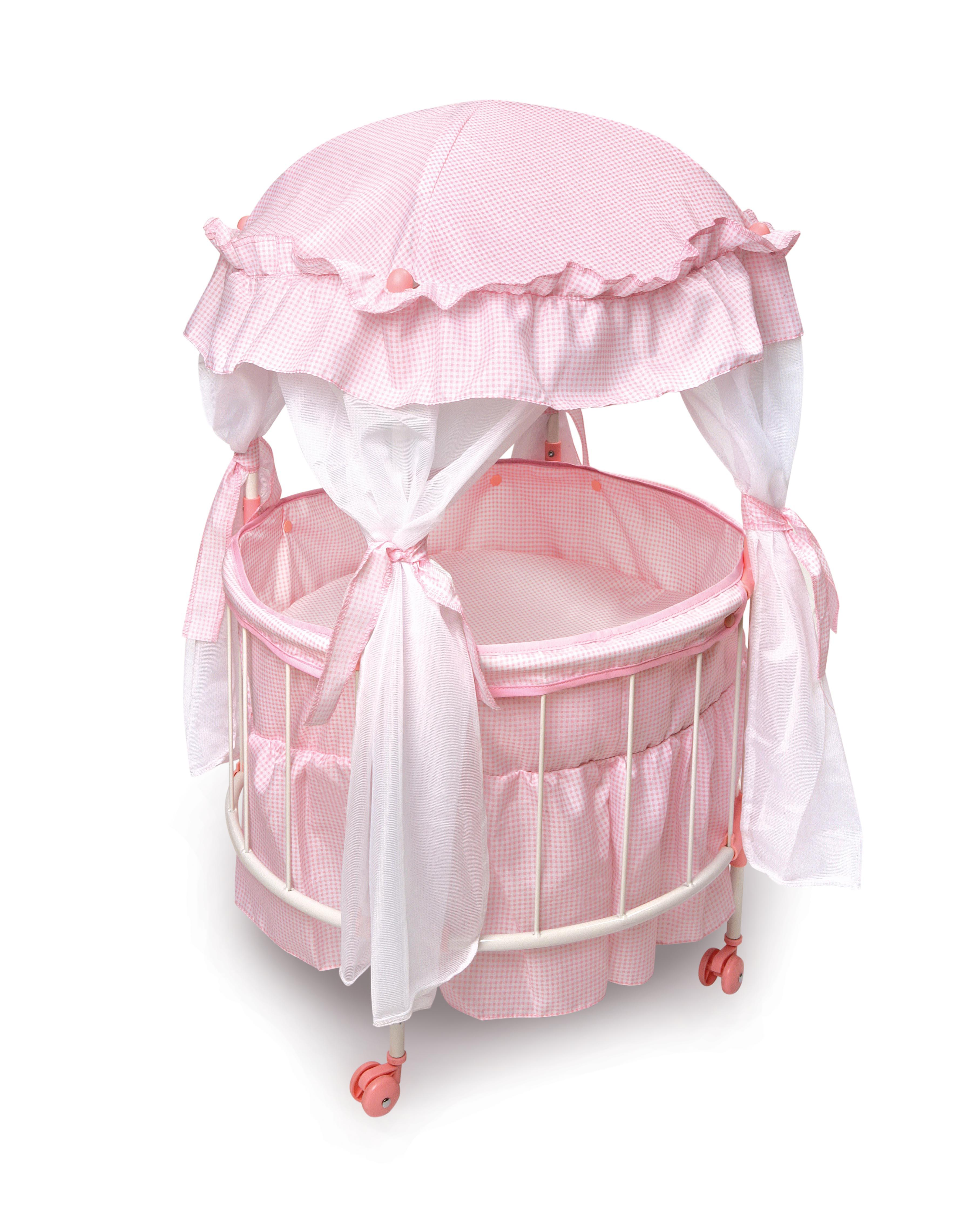 Royal Pavilion Round Doll Crib With Canoby And Bedding
