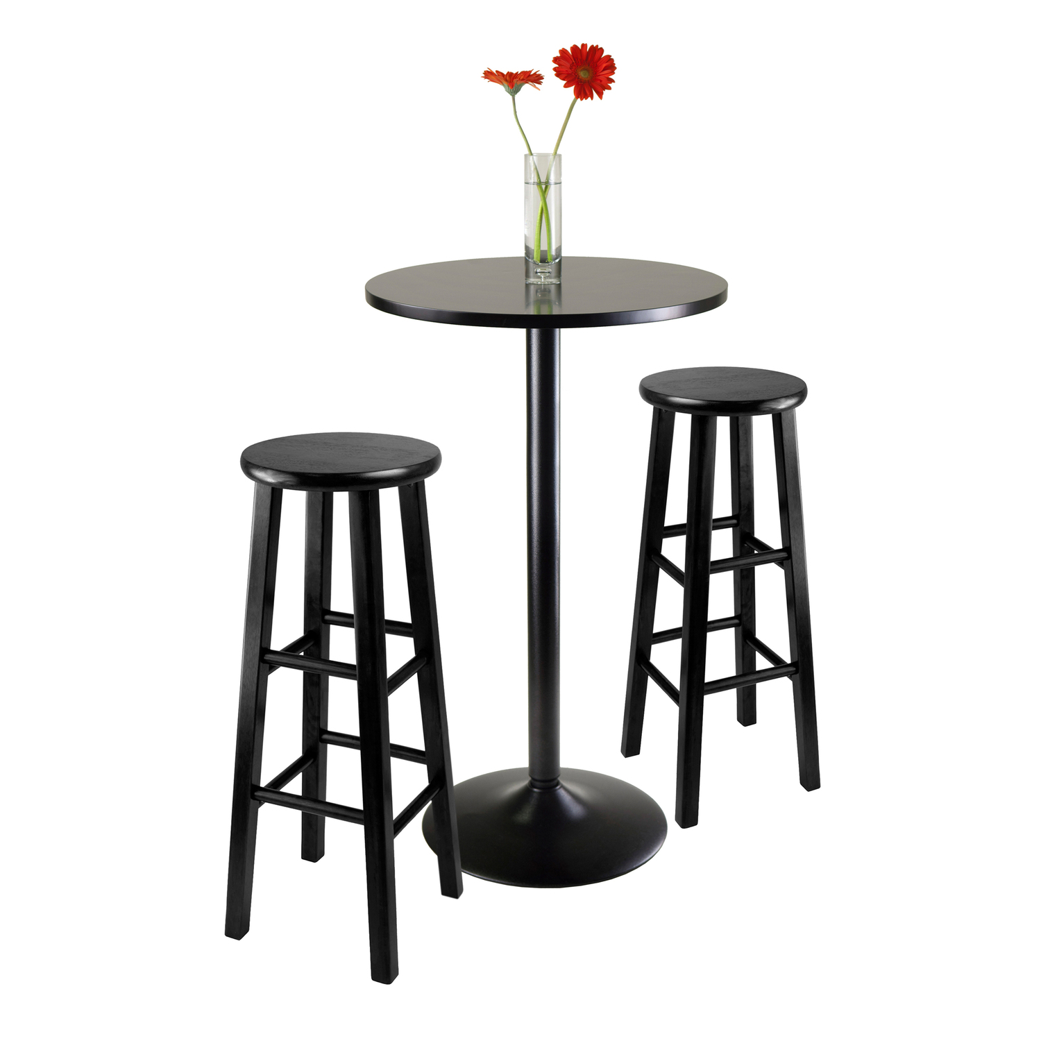 Obsidian 3 Piece Round Black Pub Table Set 308 34