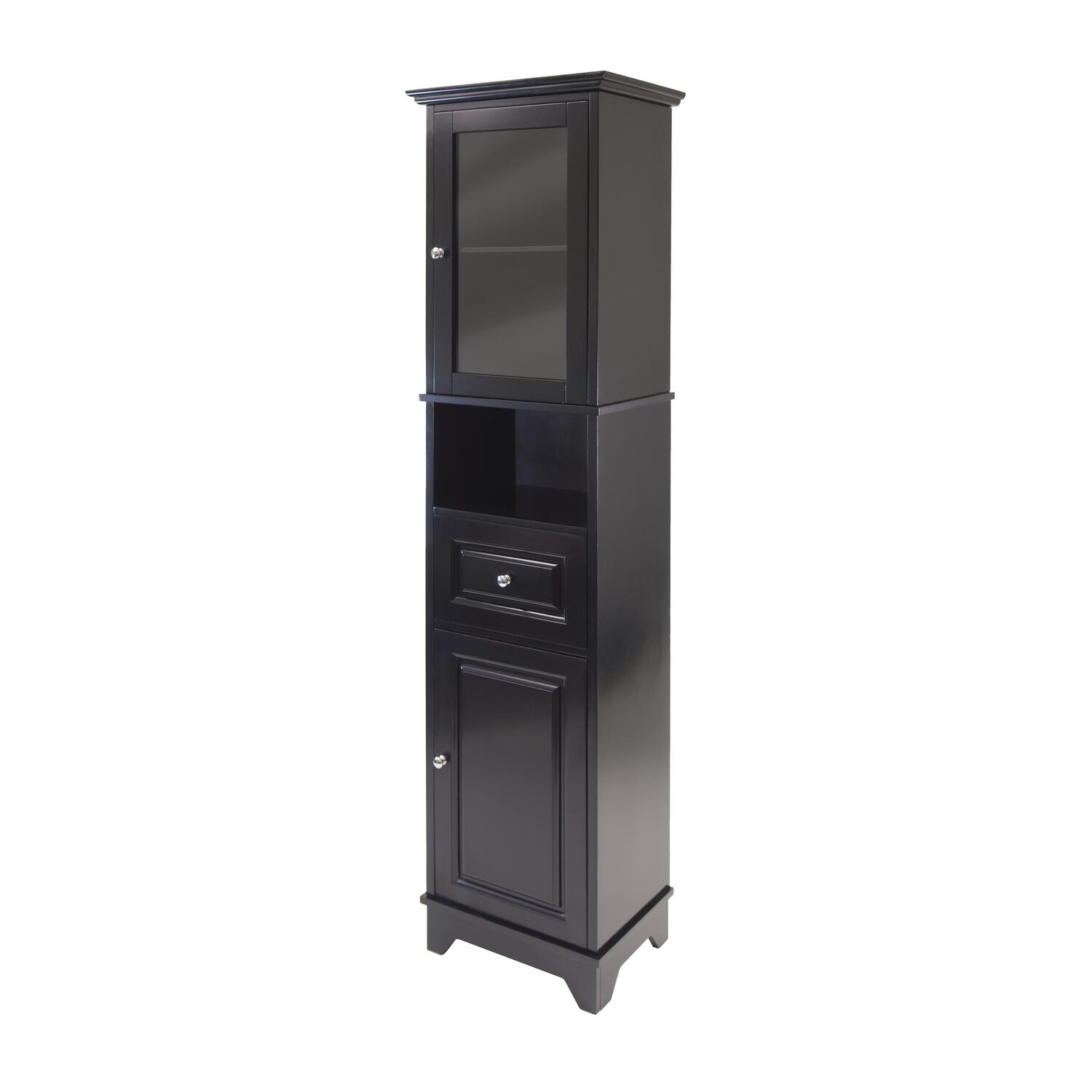 Alps tall cabinet with glass door and drawer ojcommerce for Cupboard and drawers