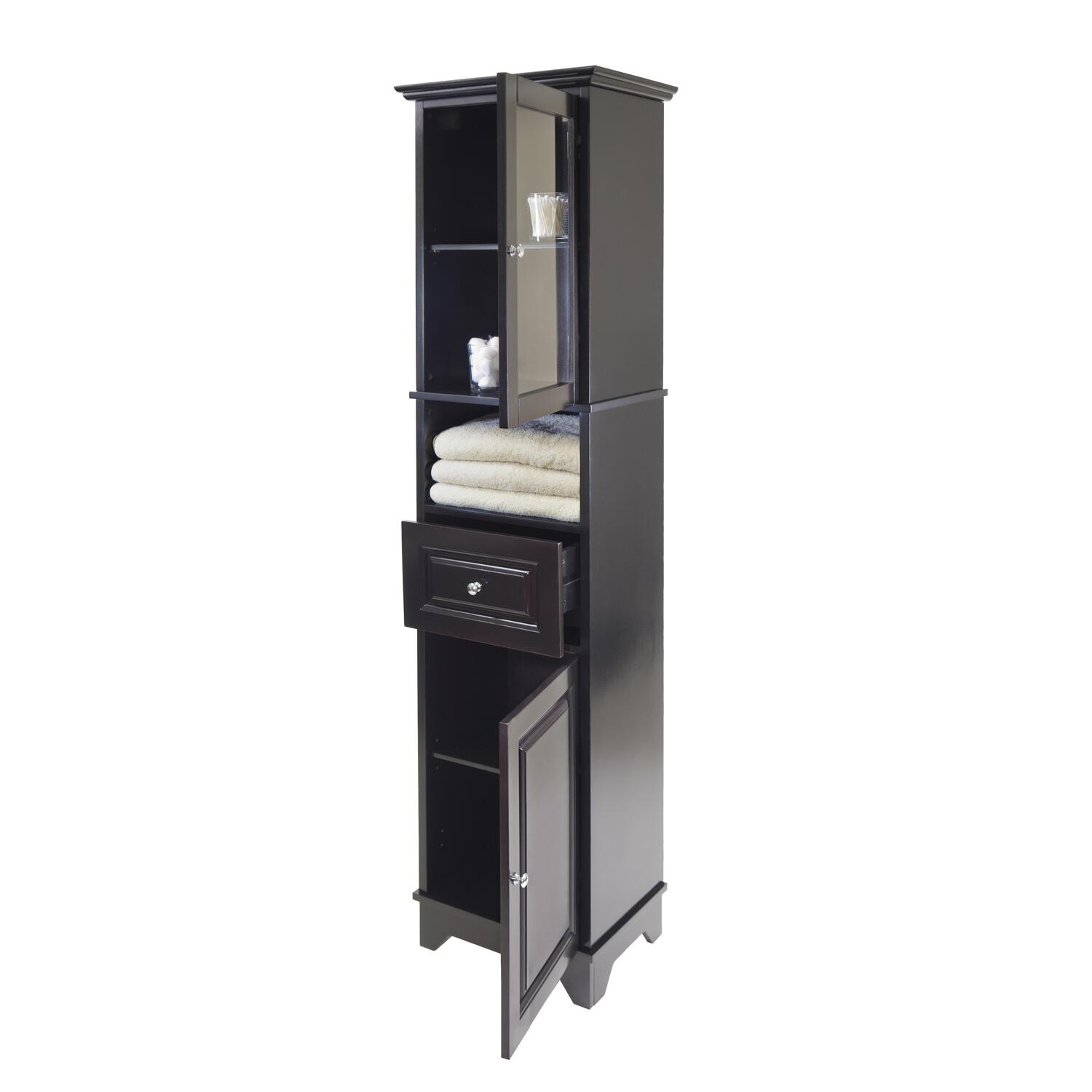 Alps tall cabinet with glass door and drawer ojcommerce for Kitchen drawers and cupboards