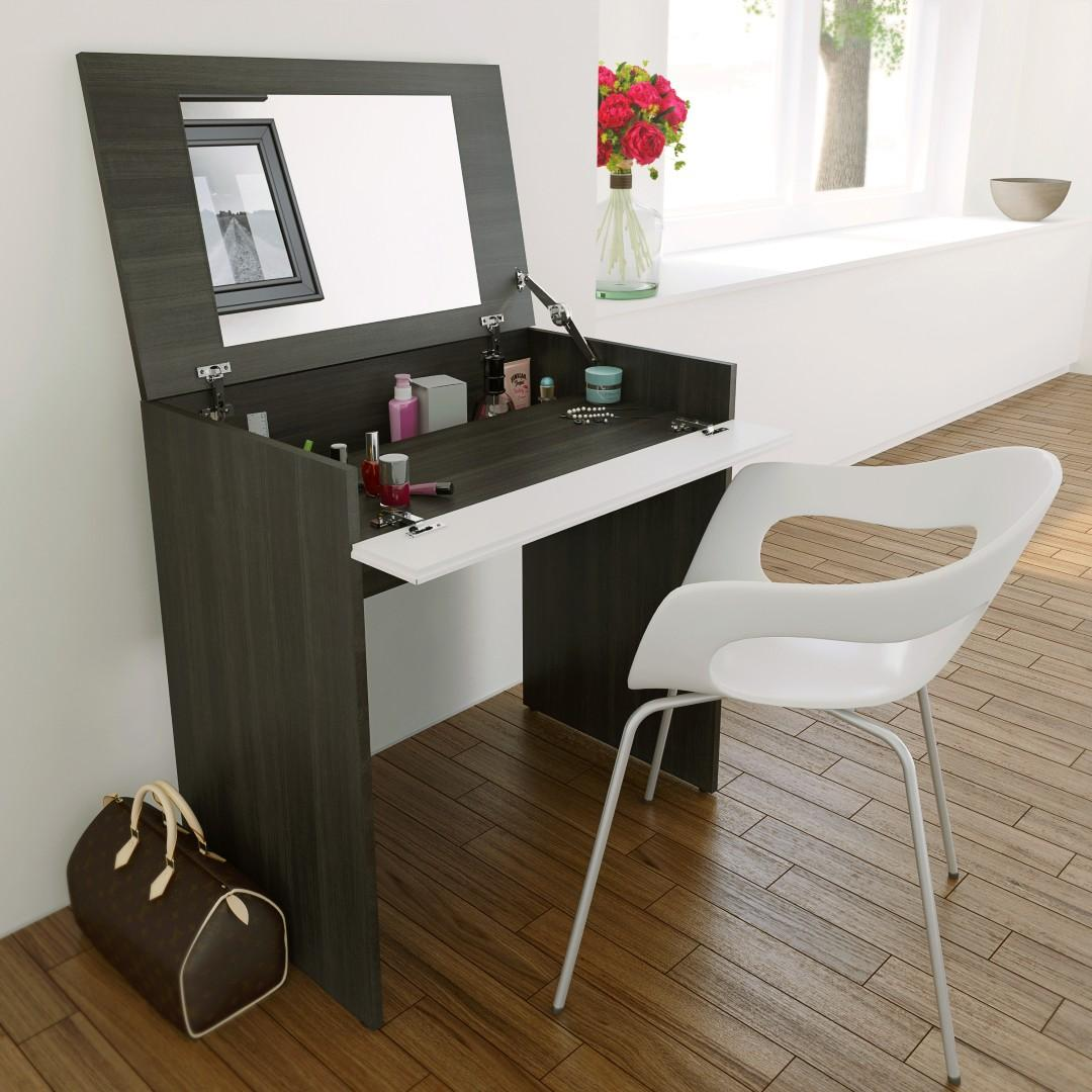 Modern dresser with mirror and chair - Allure Vanity With Mirror Integrated Storage Space