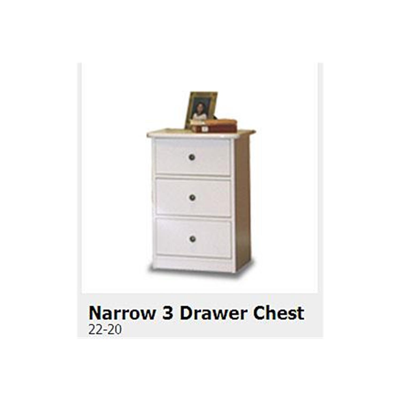 Berg Furniture Narrow Three Drawer Chest Natural White Oslo Raven