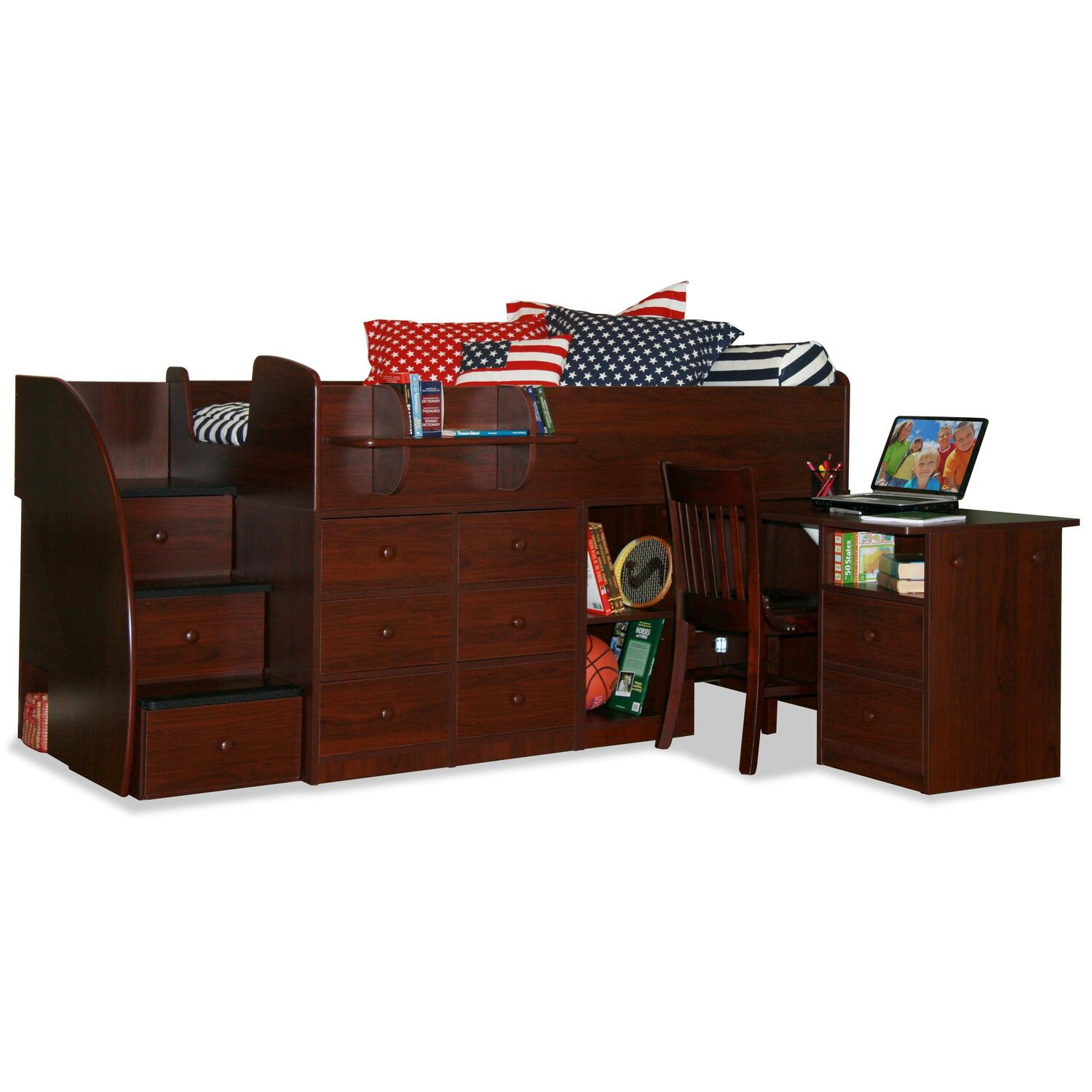 Captain S Bed With Pull Out Desk Amp 3 Stairs Twin Ojcommerce